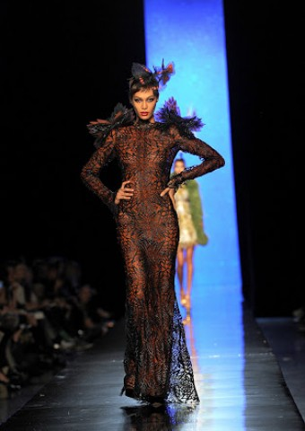 PARIS, FRANCE - JANUARY 22: Model Joan Smalls walks the runway during Jean Paul Gaultier show as part of Paris Fashion Week Haute Couture Spring/Summer 2014 on January 22, 2014 in Paris, France. (Photo by Pascal Le Segretain/Getty Images)