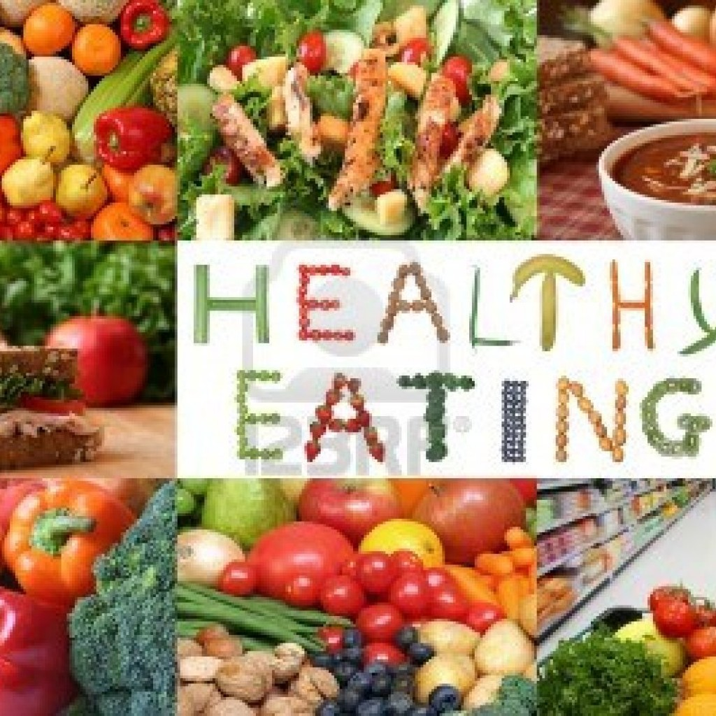 'Healthy eating' written with fruits and veggies with a background of the same